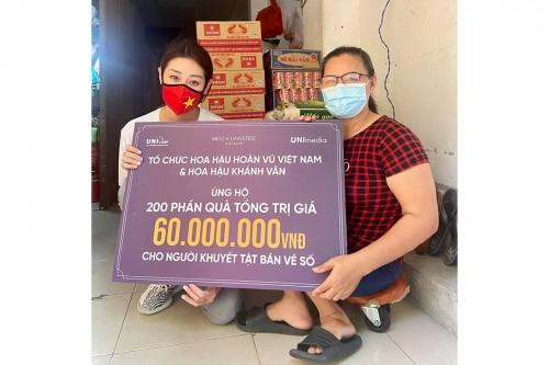 Hoa hậu Khánh Vân và tổ chức Hoa hậu Hoàn vũ Việt Nam ủng hộ 200 phần quà cho người khuyết tật bán vé số tại TP.HCM